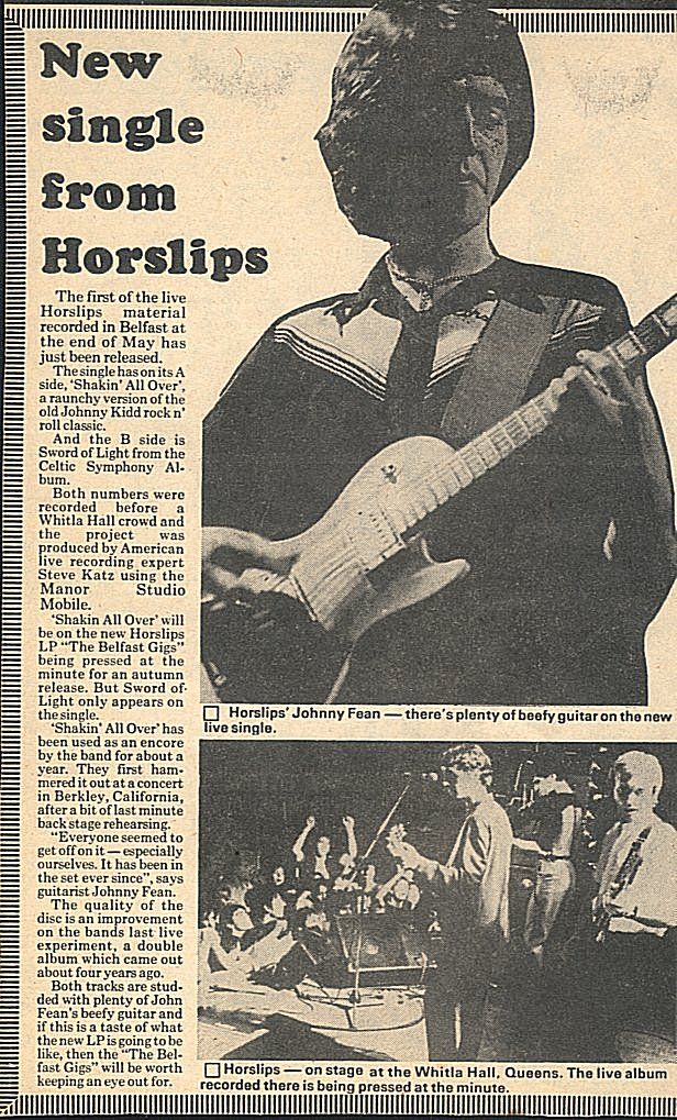 New Single From Horslips (Journal unknown)