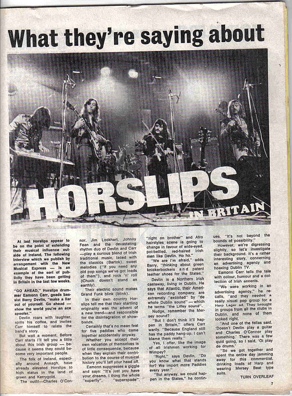 Horslips in Britain - Spotlight Aug '73